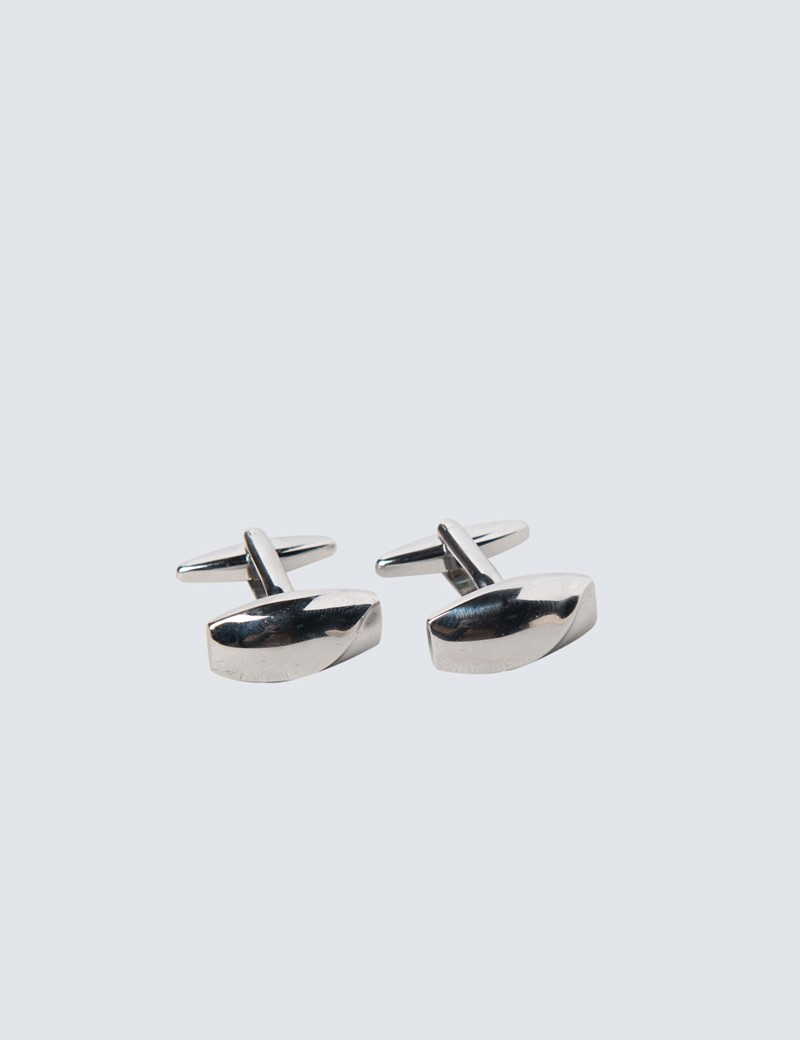 Men's Silver Cufflinks & Tie Bar Set