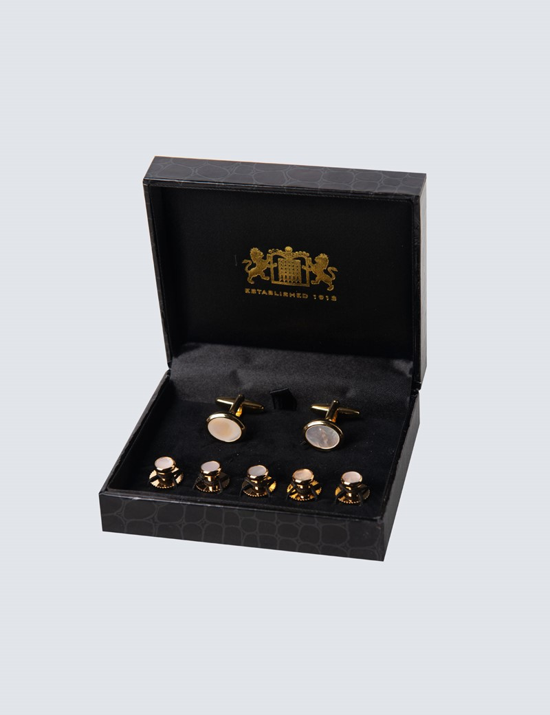 Set - Manschettenknöpfe & Studs - Perlmutt gold