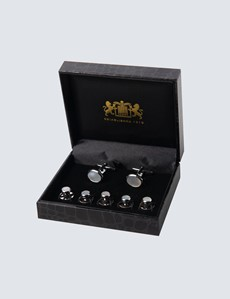 Men's Silver Mother of Pearl Cufflink & Dress Stud Set