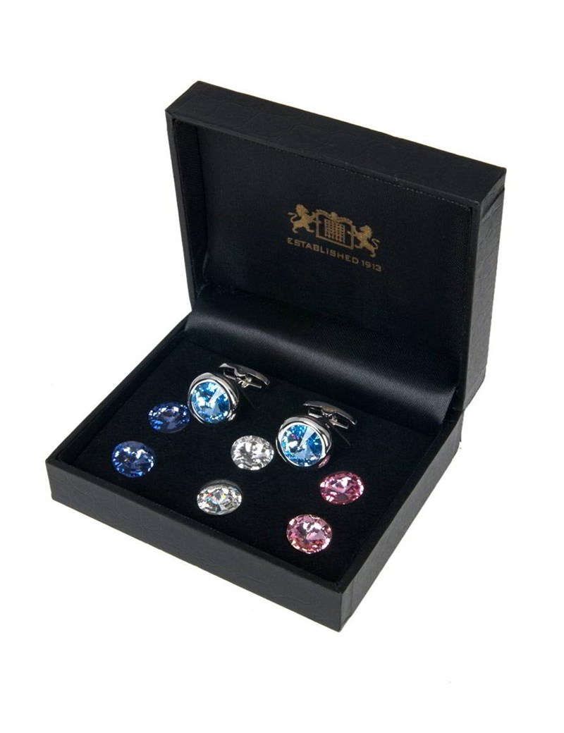 Men's Assorted Screwable Crystal Cufflink Set