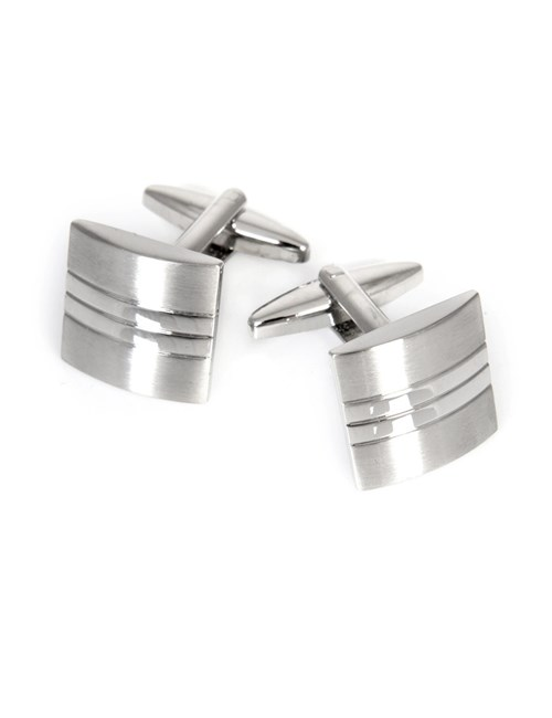 Men's Silver Brushed Stripe Square Cufflink