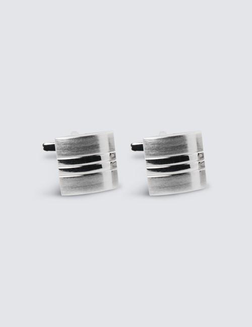 Men's Silver Brushed Stripe Square Cufflink
