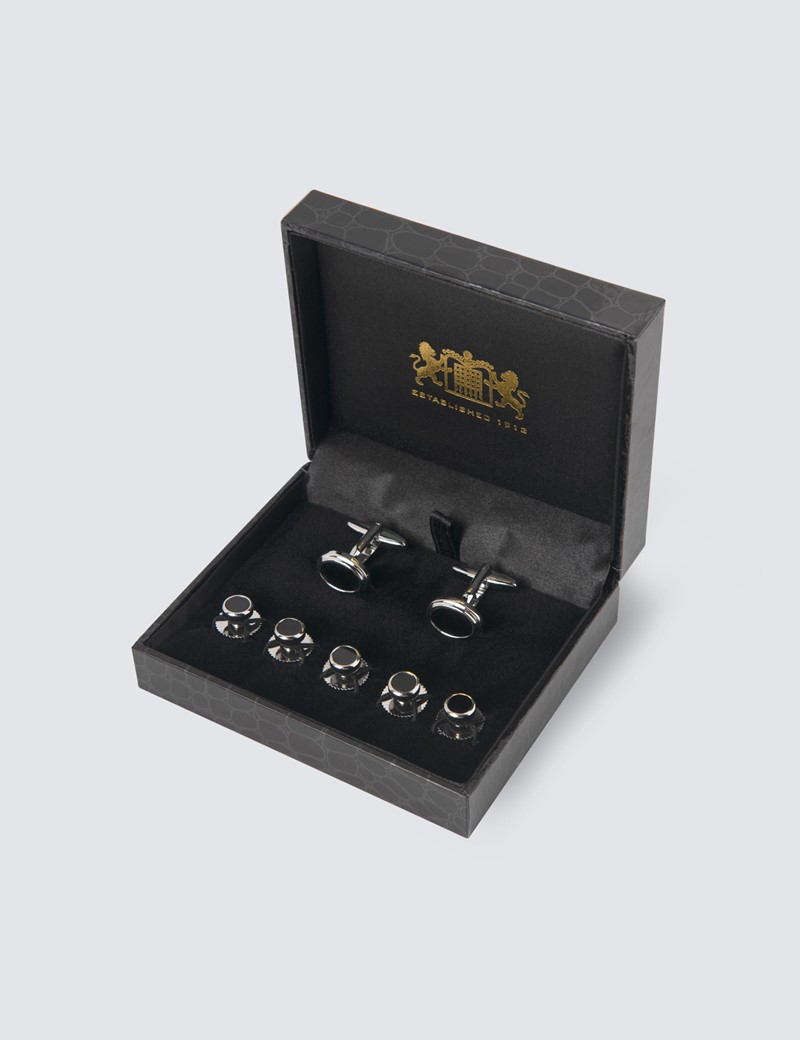 Men's Black Onyx Cufflink & Dress Stud Set