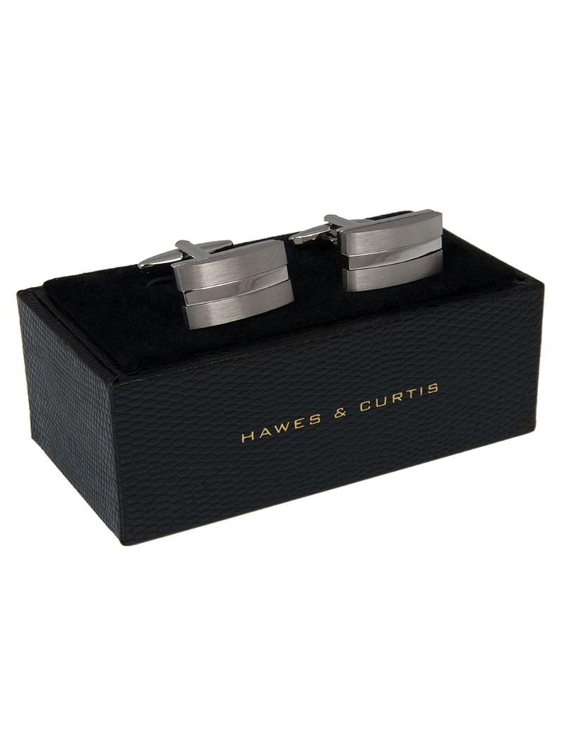Men's Silver Brushed Split Rectangle Cufflink