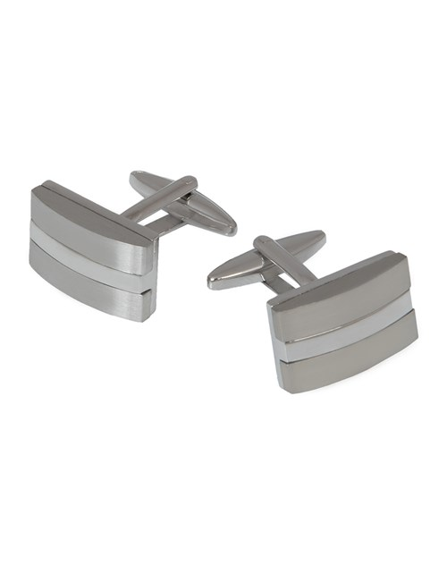 Men's Silver Brushed Split Rectangle Cufflink