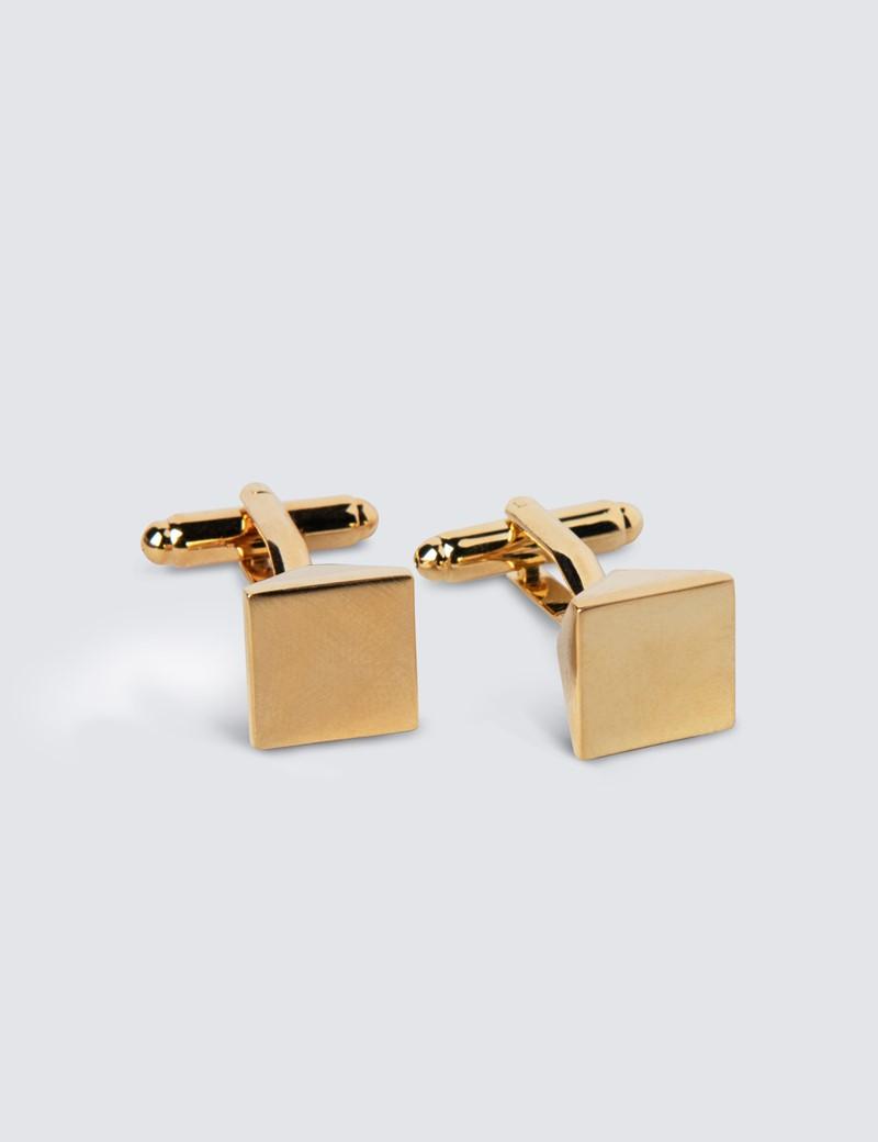 Men's Gold Plain Cube Cufflinks
