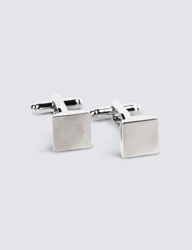 Men's Silver Plain Cube Cufflinks