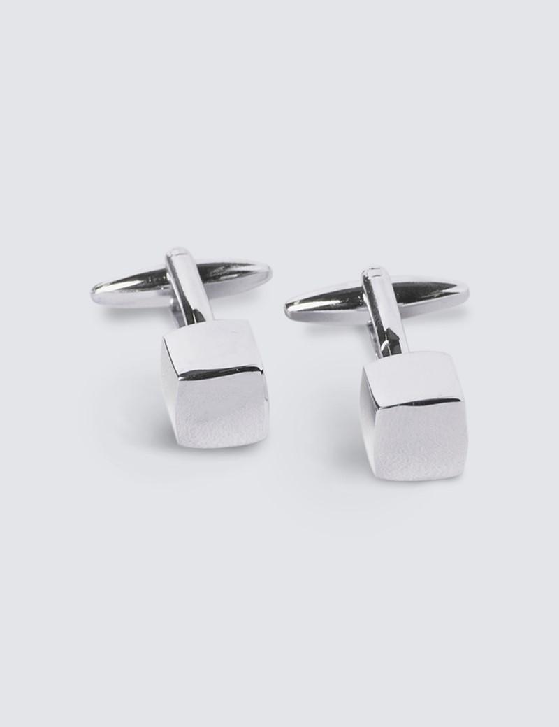 Men's Silver Small Cube Cufflinks