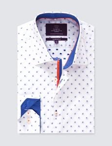 Men's Curtis Blue & White Dobby Spot Slim Fit Shirt - Single Cuff
