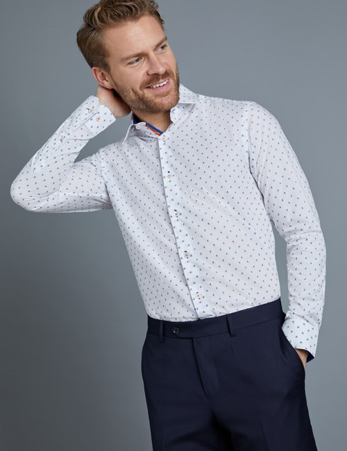 Men's Curtis Blue & White Dobby Spot Slim Fit Shirt - Single Cuff