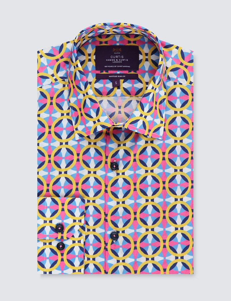 Men's Curtis Yellow & Pink Geometric Print Slim Fit Low Collar Shirt - Single Cuff