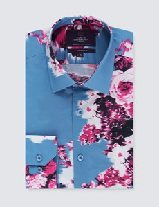Casual Hemd – Slim Fit – Mayfair – Verschwommenes Blumenmuster blau & pink