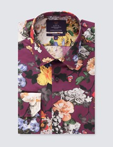 Men's Curtis Wine & Orange Floral Slim Fit Shirt  - Single Cuff