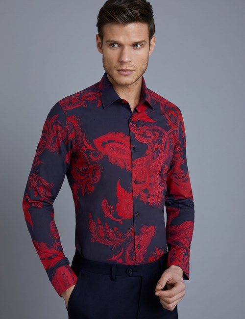 Men's Curtis Navy & Red Paisley Slim Fit Shirt - Single Cuff