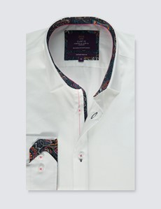 Men's Curtis White Slim Fit Shirt With Contrast Detail - Single Cuff