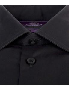 Men's Curtis Black Poplin Slim Fit Shirt - Single Cuff