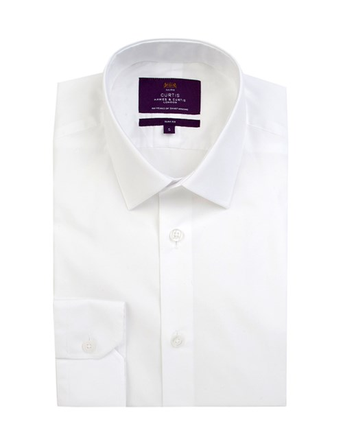 Men's Curtis White Poplin Slim Fit Shirt - One Button Collar - Single Cuff