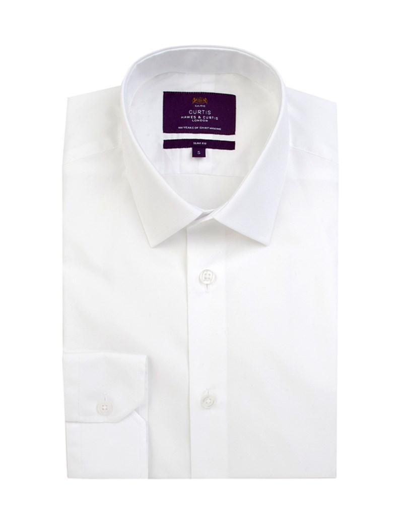 Men's Curtis White Poplin Slim Fit Shirt - Single Cuff