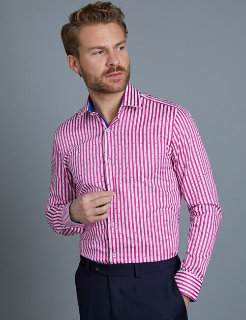 Men's Curtis Pink & White Stripe Slim Fit Shirt  - Single Cuff