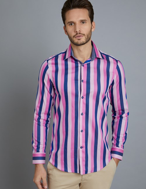 Men's Curtis Pink & Navy Large Stripe Slim Fit Shirt - Single Cuff