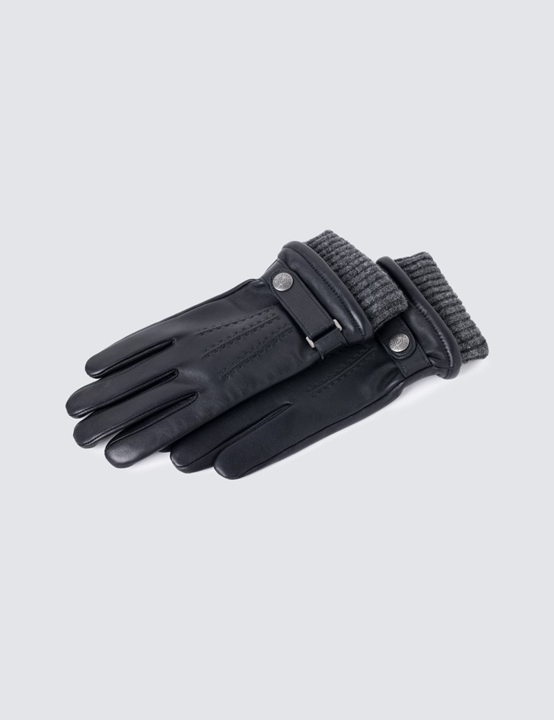 Men's Touchscreen Leather Henley Gloves