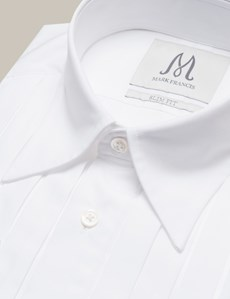 Men's Formal White Slim Fit Evening Shirt With Pleated Detail – Double Cuffs