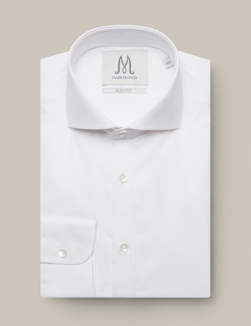 Men's Formal  White Slim Fit Shirt - Double Button Cutaway Collar - Single Cuff