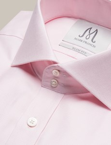 Men's Formal Pink Dobby Weave Slim Fit Shirt - Double Button Cutaway Collar - Single Cuff