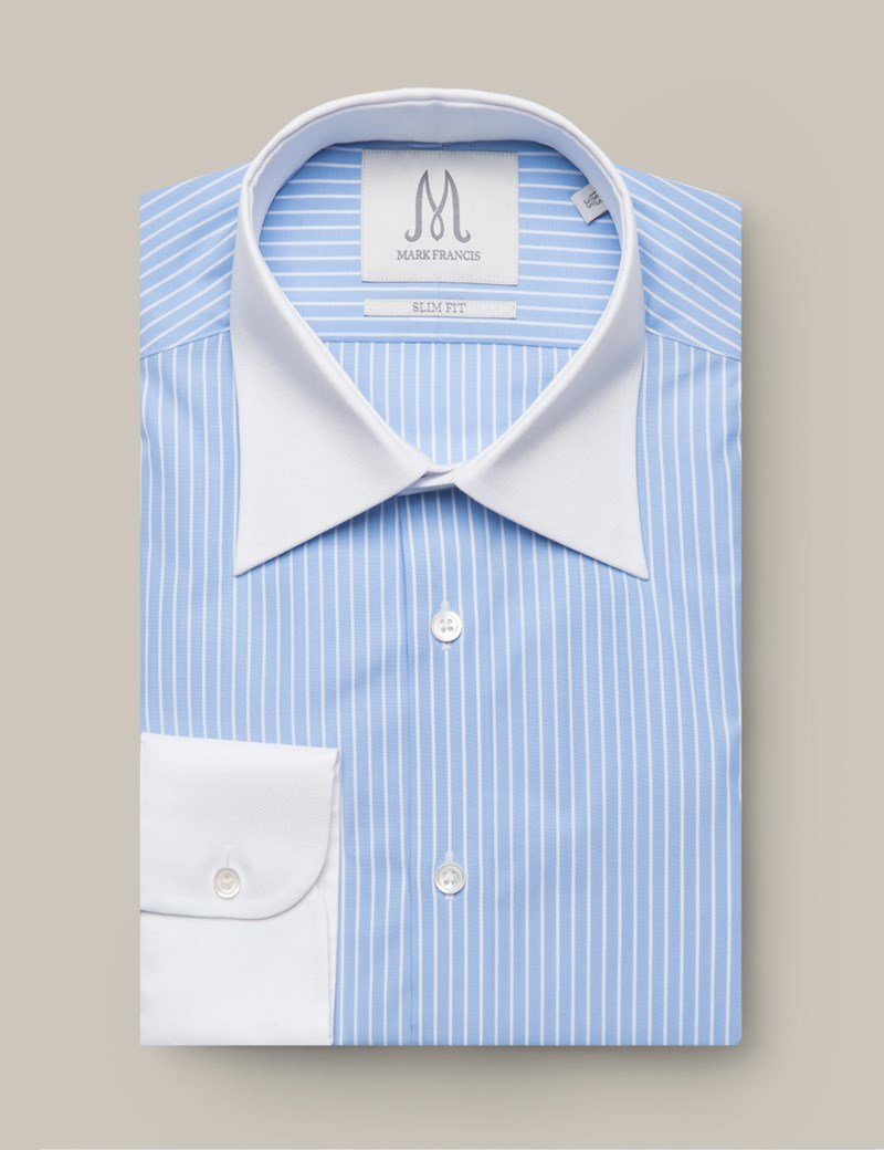 Men's Formal Blue & White Butcher Stripe Slim Fit Shirt - Single Cuff