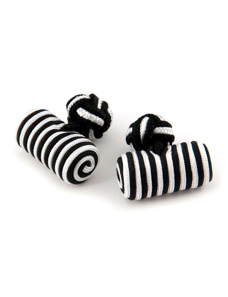 Men's Black & White Silk Barrel