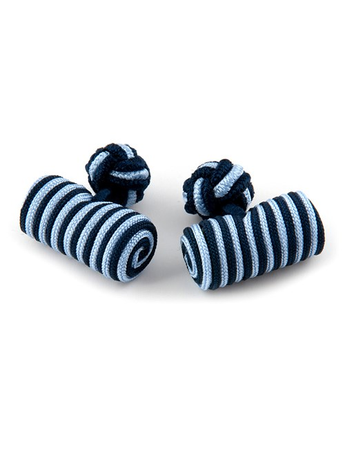 Men's Navy & Light Blue Silk Barrel