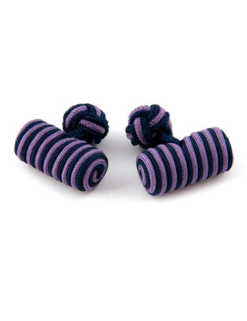Seidenfässchen – Marineblau-lila – Zylinder Manschettenknöpfe