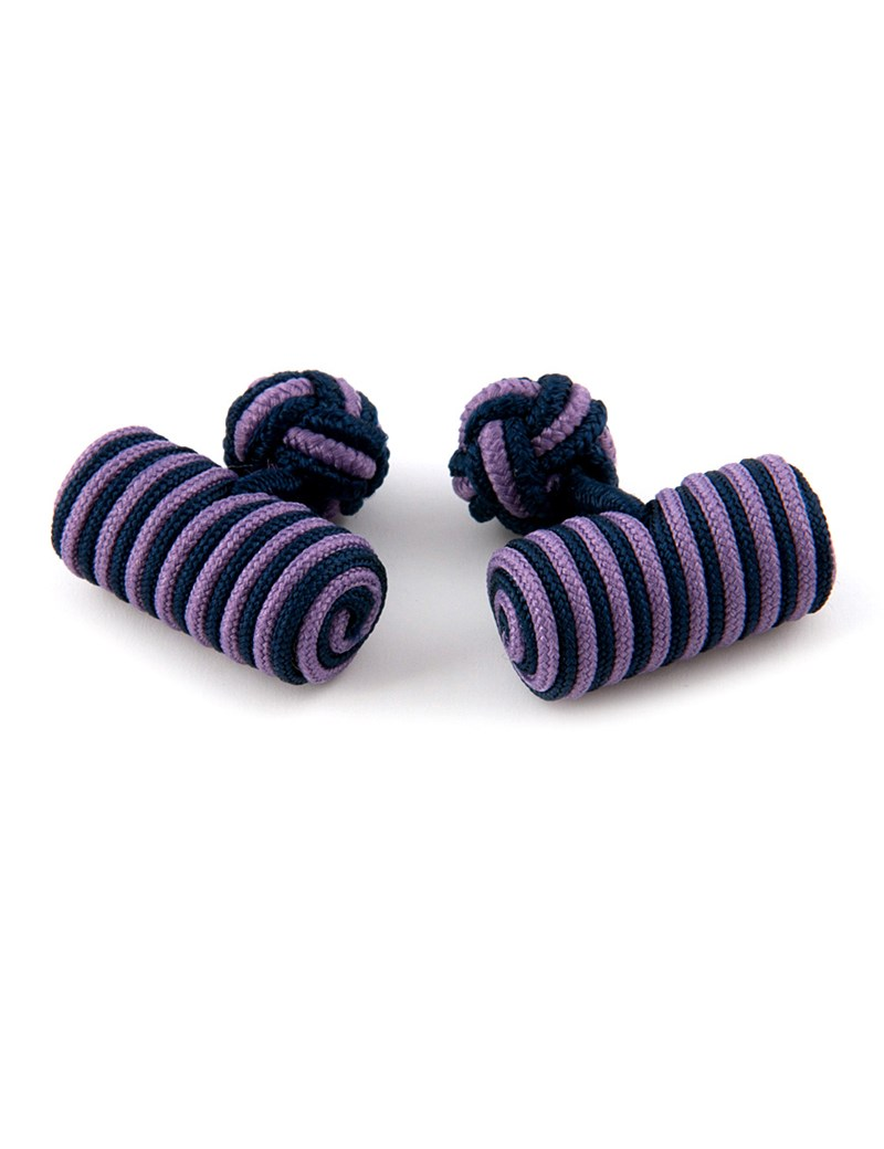 Men's Navy & Lilac Silk Barrel