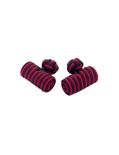 Seidenfässchen – Marineblau-rot – Zylinder Manschettenknöpfe