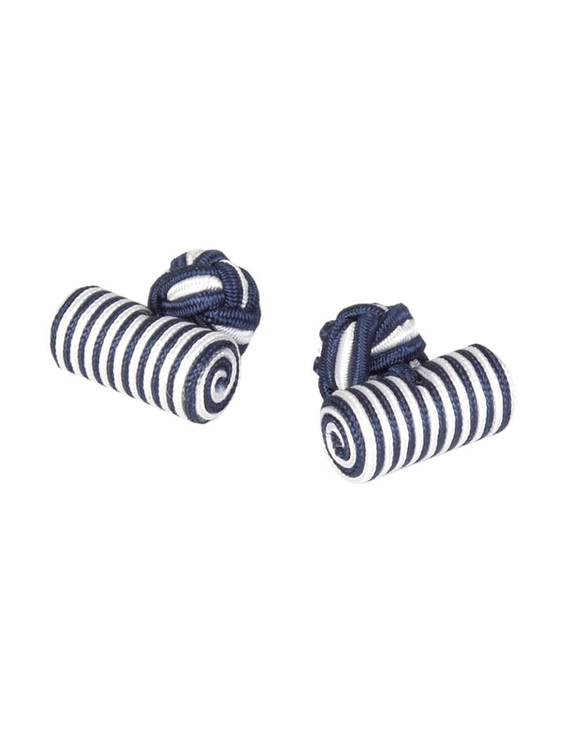Seidenfässchen – Marine & weiß – Zylinder Manschettenknöpfe
