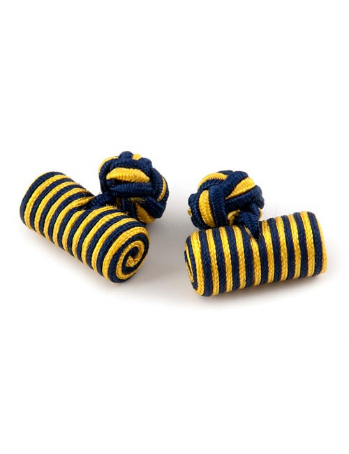 Men's Navy & Yellow Silk Barrel