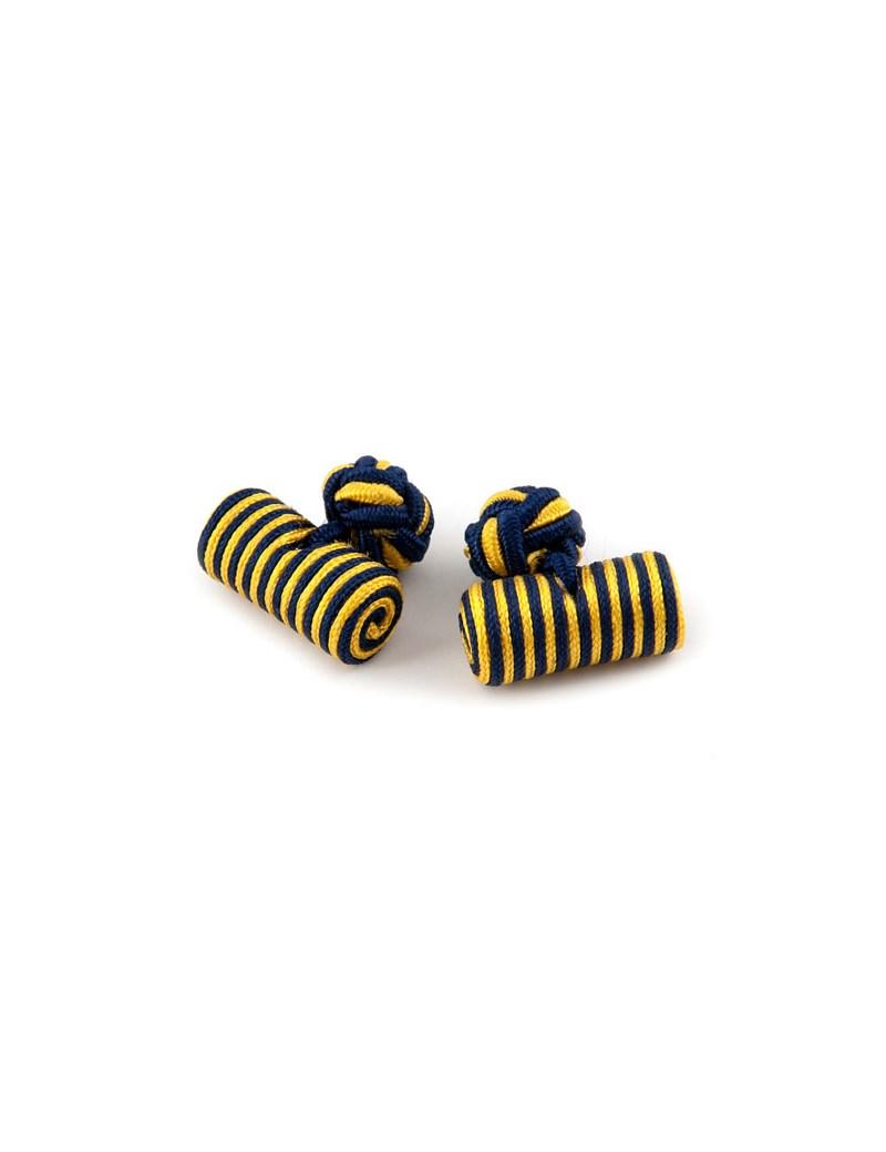 Seidenfässchen – Marineblau-gelb – Zylinder Manschettenknöpfe