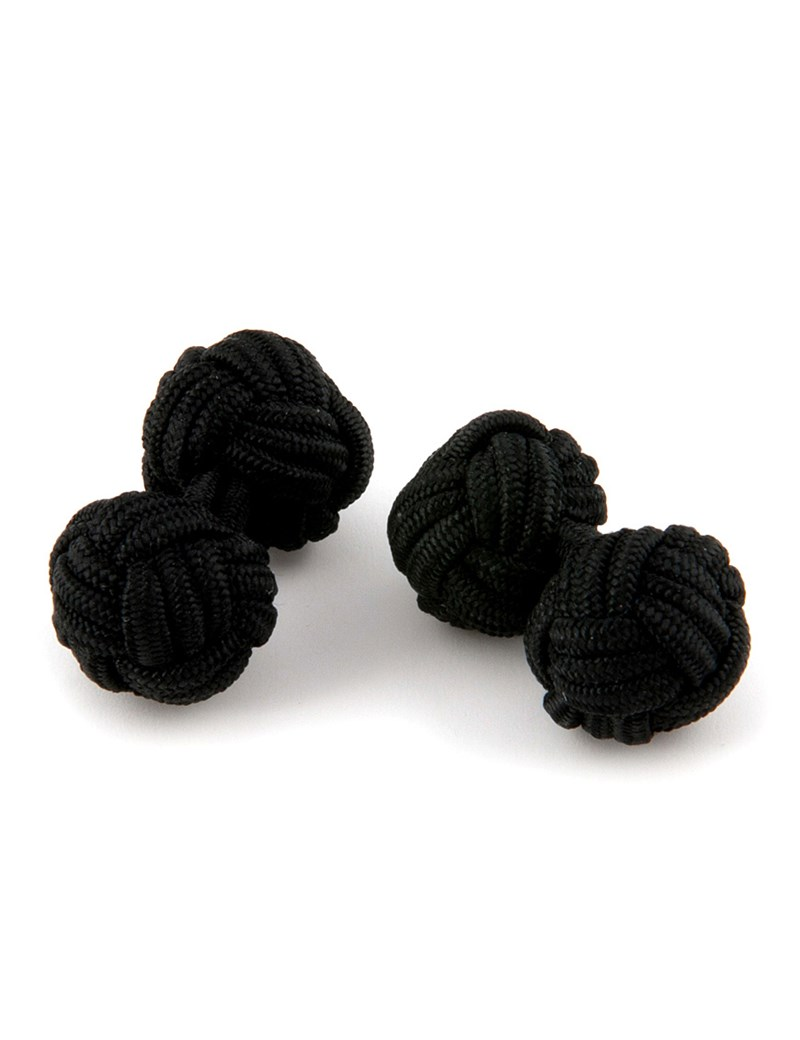 Men's Plain Black Silk Knot