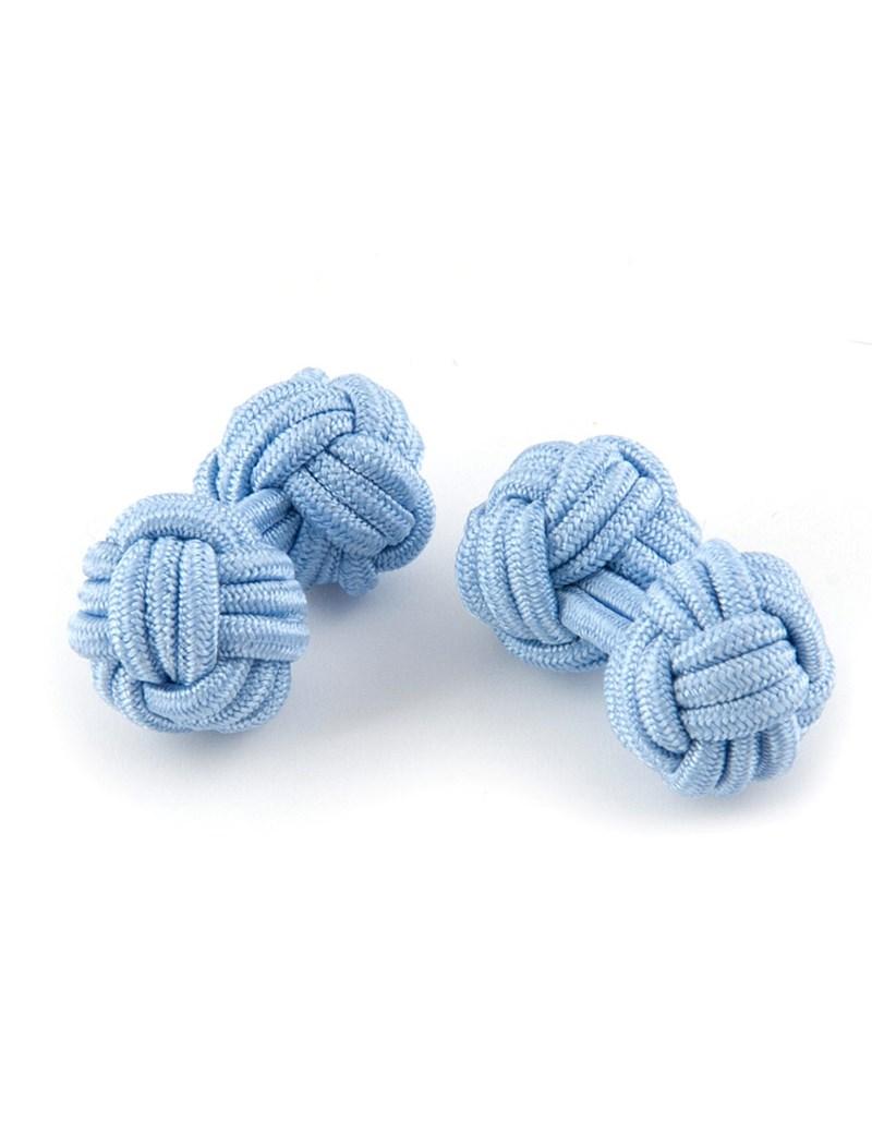 Manschettenknöpfe – Seidenknoten hellblau