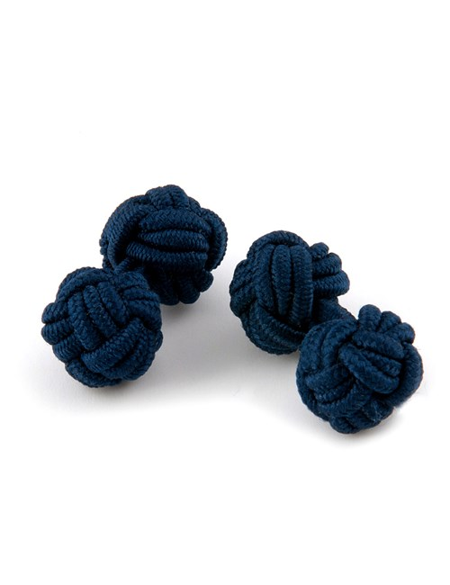 Men's Plain Navy Silk Knot
