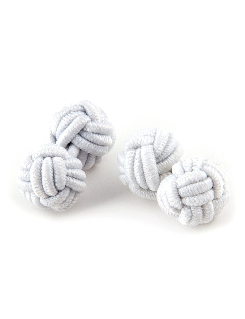 Men's White Silk Knot
