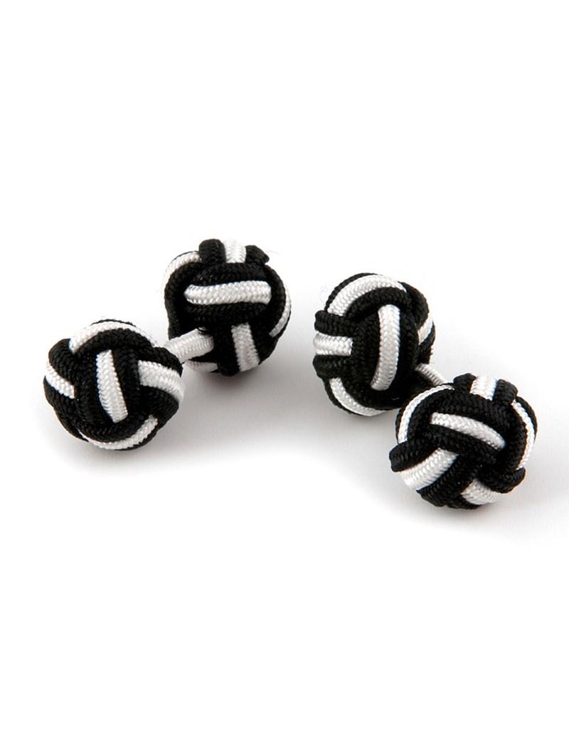 Manschettenknöpfe - Seidenknoten schwarz-weiß