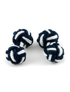 Men's Navy & White Silk Knot