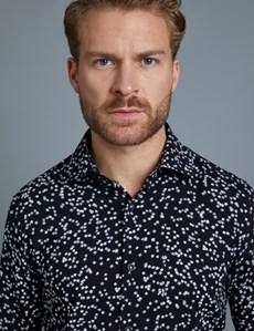 Men's Curtis Black & White Star Print Slim Fit Shirt – Single Cuff