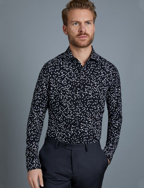 Men's Curtis Black & White Star Print Slim Fit Shirt – Single Cuff