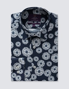 Men's Curtis Blue & White Daisy Print Slim Fit Shirt – Single Cuffs