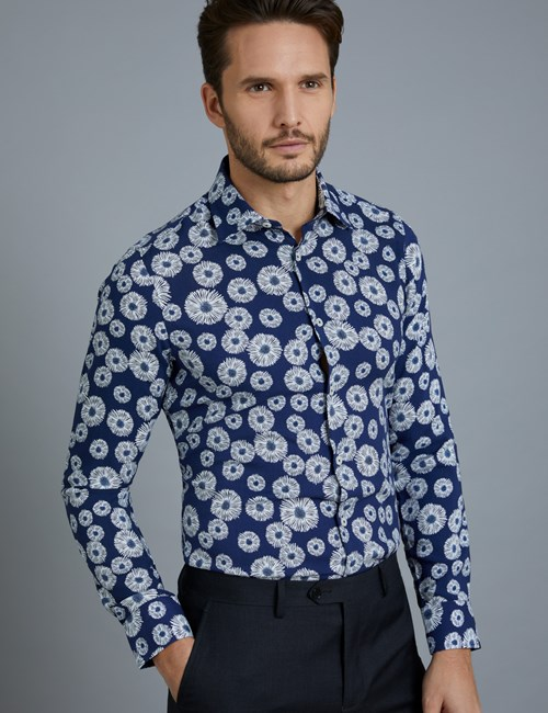 Men's Curtis Blue & White Daisy Print Slim Fit Shirt – Single Cuffs