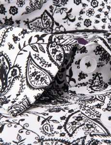 Men's Curtis Black & White Paisley Slim Fit Shirt - Single Cuff