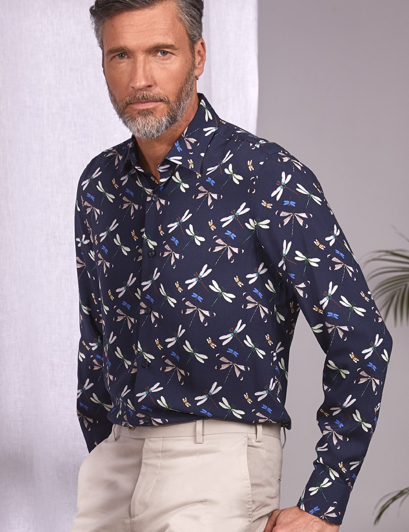Men's Curtis Navy Dragonflies Slim Fit Shirt - Single Cuff