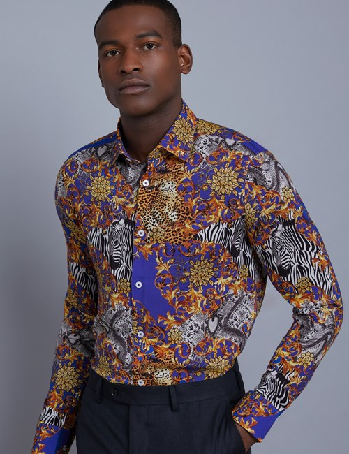 Men's Curtis Blue and Yellow Animal Print Slim Fit Shirt - Single Cuff